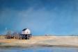 Schilderij-Reddingshuisje-Vlieland-olieverf-op-doek-70x50cm