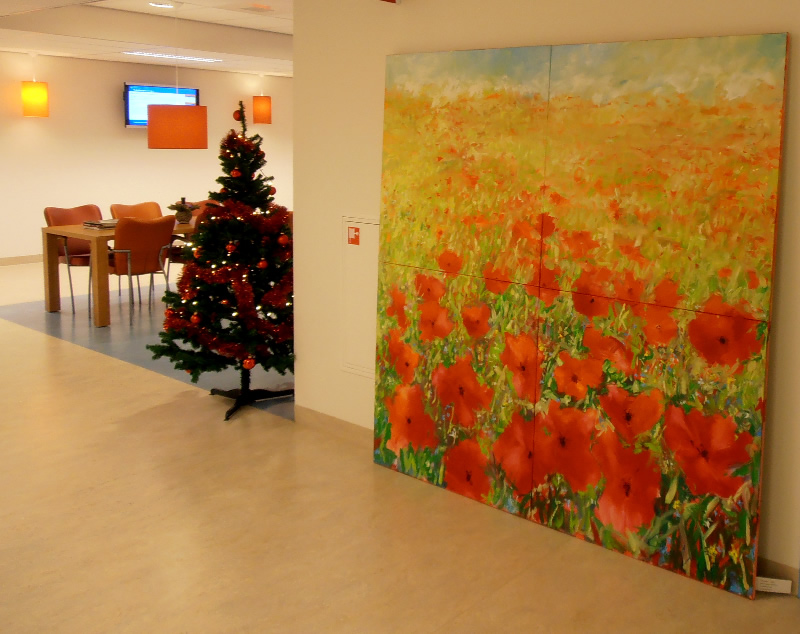 Schilderijen 200 x 200 cm afgeleverd bij UMCG