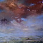 Schilderij van het Wad ten noorden van Pieterburen. 100x100cm olieverf op doek.