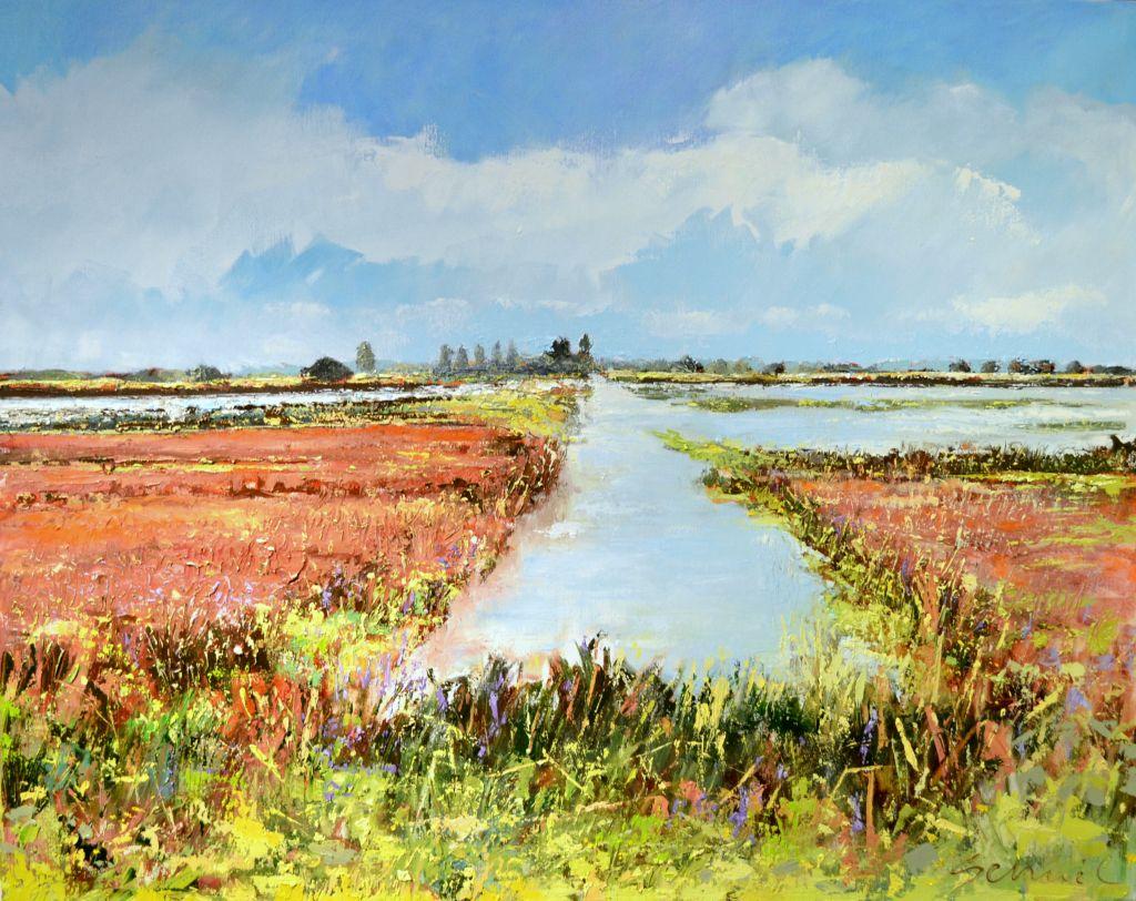 Schilderij Leinwijk Zuidlaardermeer olieverf op doek 125x115cm