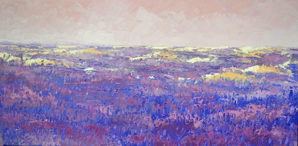 Schilderij heideveld olieverf op doek 60x30cm