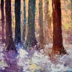 Winterlandschap met bomen op doek 100x100cm