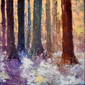 Winterlandschappen met bomen gemaakt voor de expositie Open Art Sale van galerie Drensche Aa te Balloo